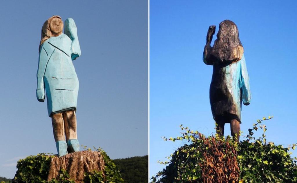 Queman estatua de Melania Trump en su pueblo natal de Eslovenia
