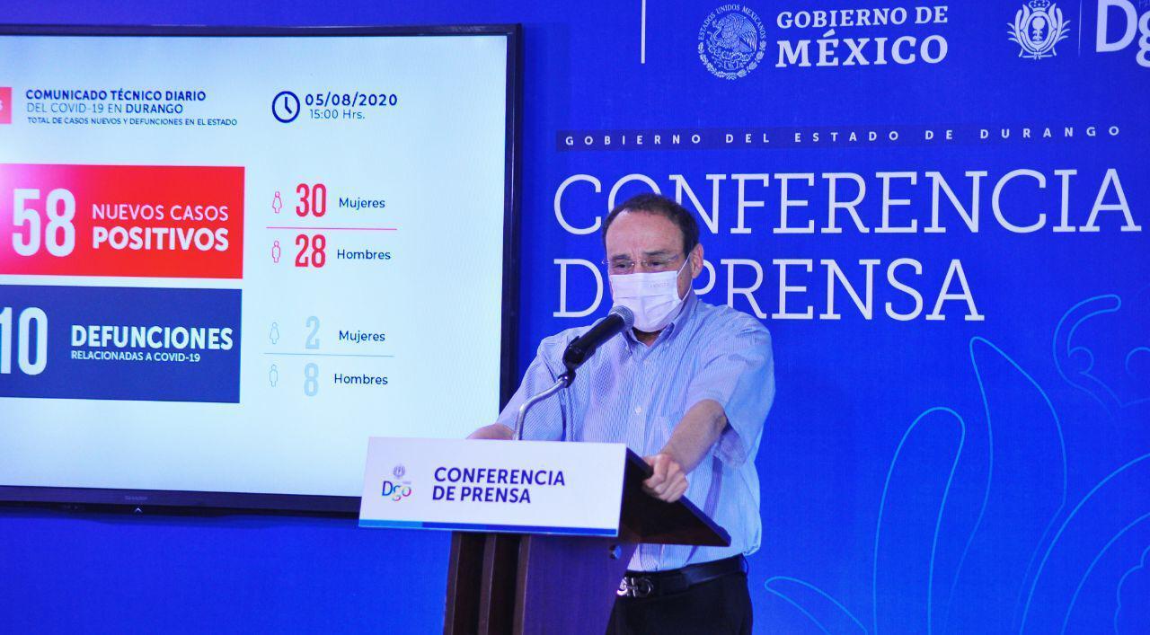 Durango suma 58 contagios nuevos y 10 defunciones por Covid-19