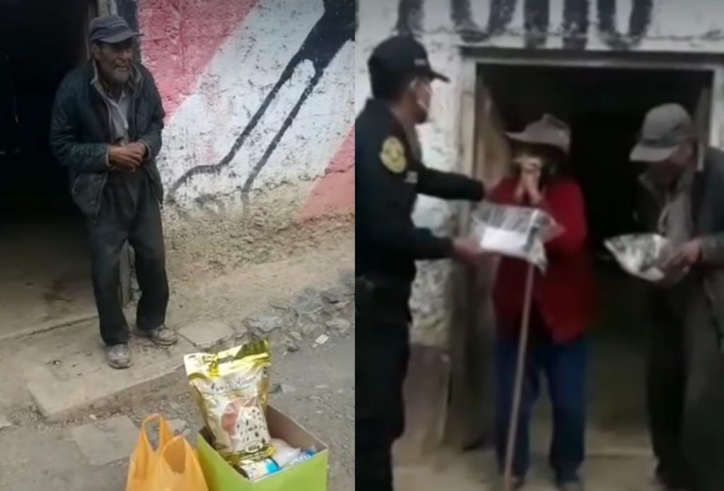 Policías entregan regalo a pareja de ancianos; acto conmueve en redes