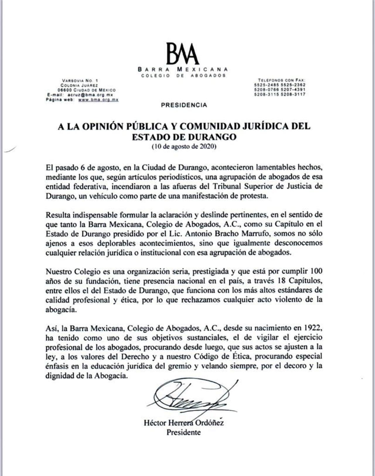 Barra Mexicana, Colegio de Abogados se deslinda de Gamero Luna en Durango