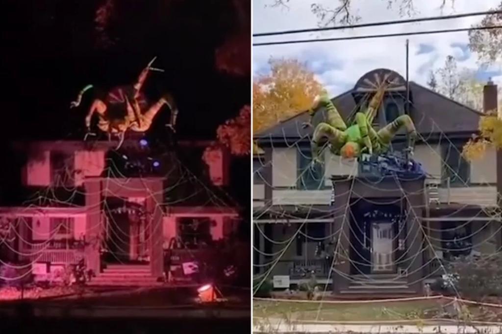 Araña gigante como decoración de Halloween causa revuelo