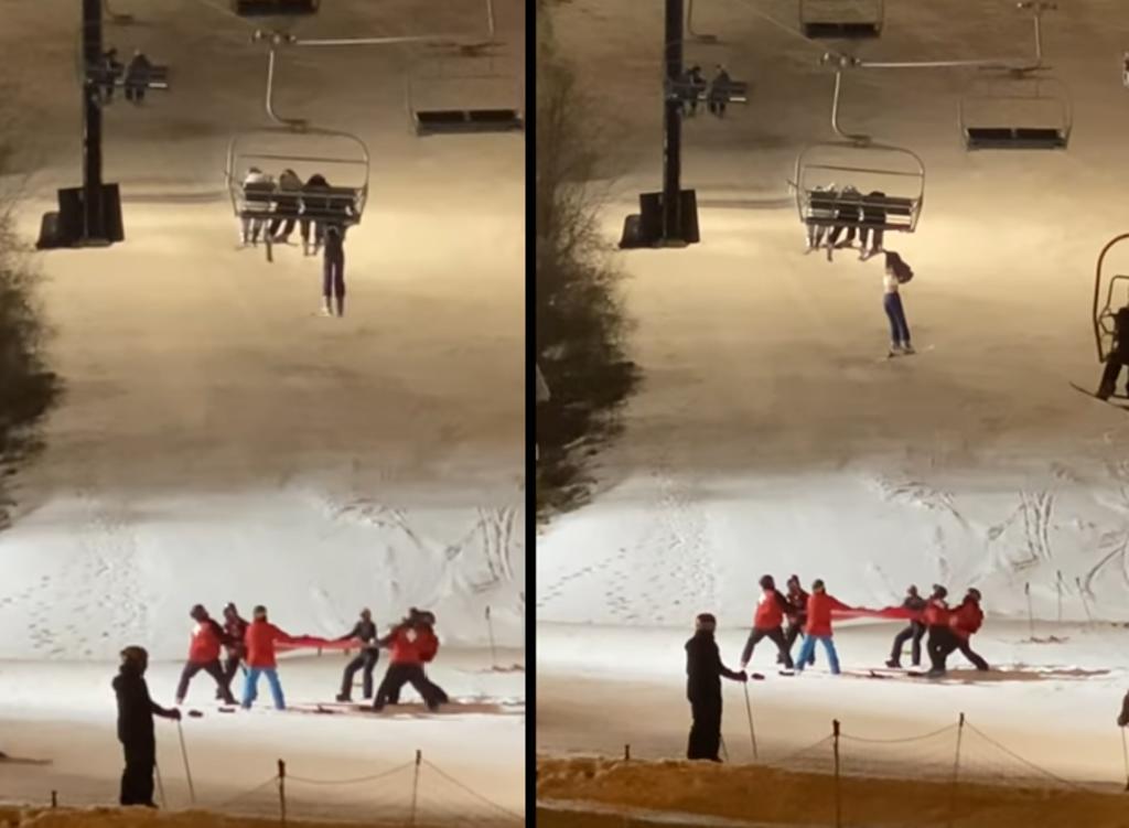 Rescatan a esquiadora tras quedar colgando de una silla de teleférico