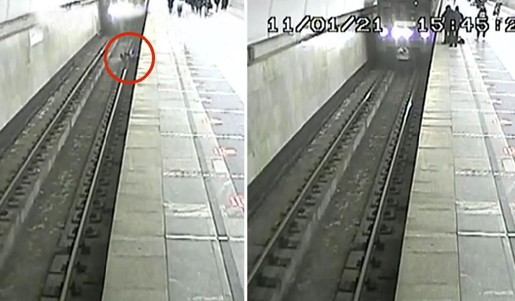 Maquinista frena a tiempo el tren para salvar a niño que cayó en las vías
