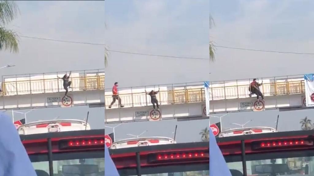 Bombero impide suicidio de una mujer en puente peatonal en Morelos