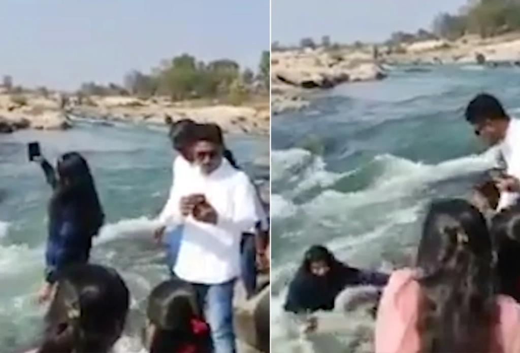Turista resbala y cae al agua por intentar tomarse una selfie cerca de una cascada