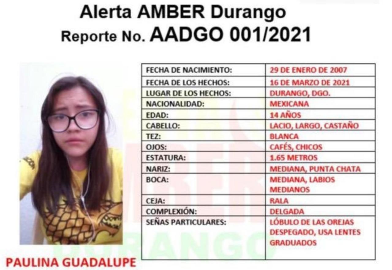 Activan Alerta Amber por desaparición de menor en Durango