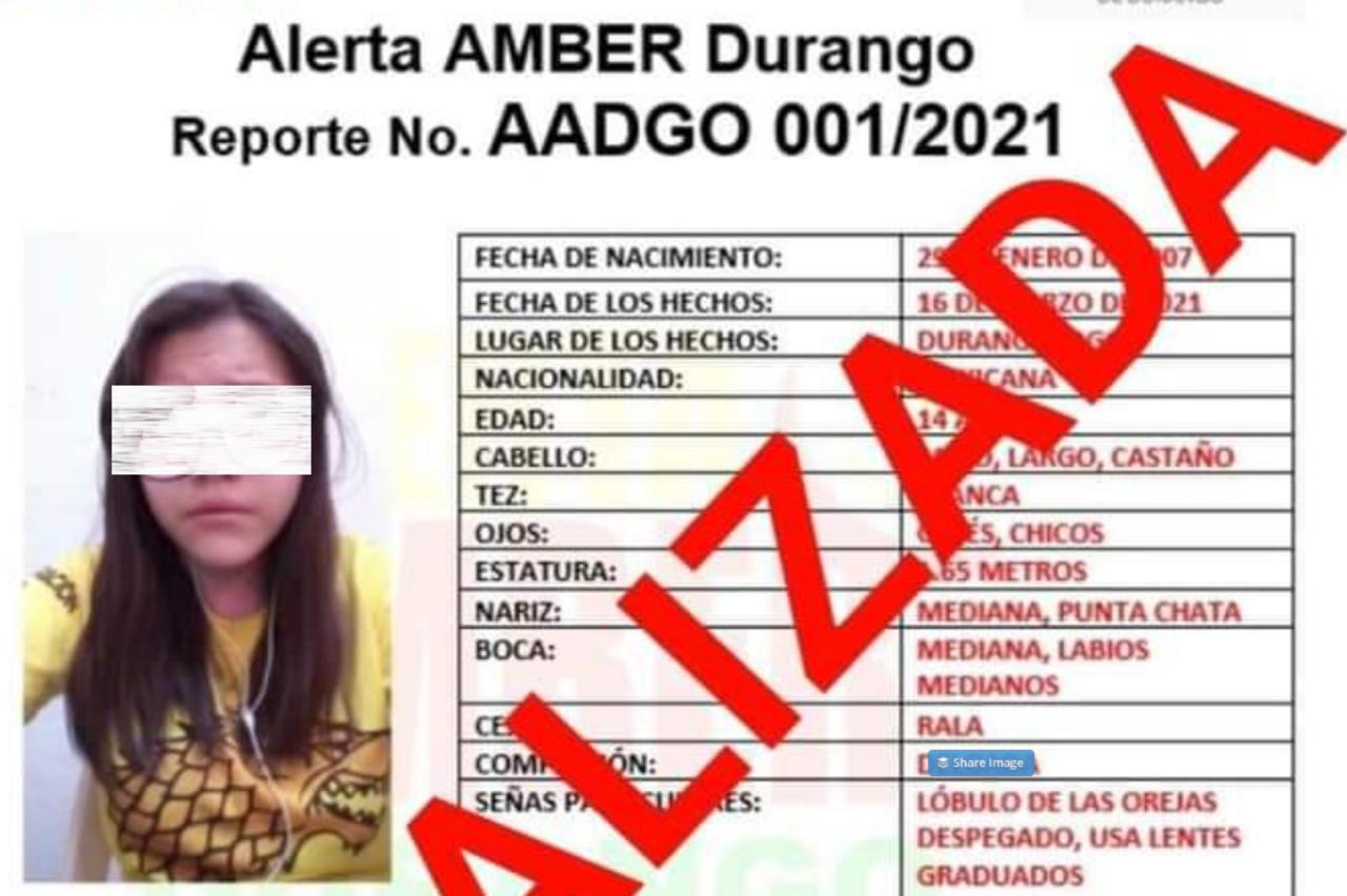 Localizan a menor desaparecida en Durango; desactivan Alerta Amber