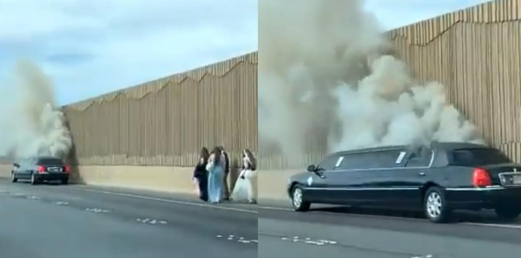 Limusina que transportaba a una novia se incendia camino a la boda