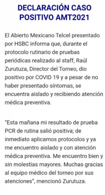 Raúl Zurutuza, director del Abierto Mexicano de Tenis da positivo a COVID-19