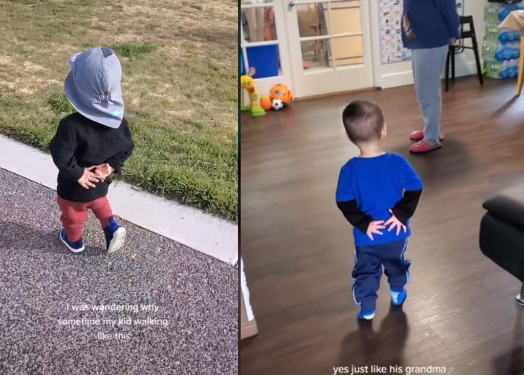 Niño imita a su abuela caminando y se hace viral