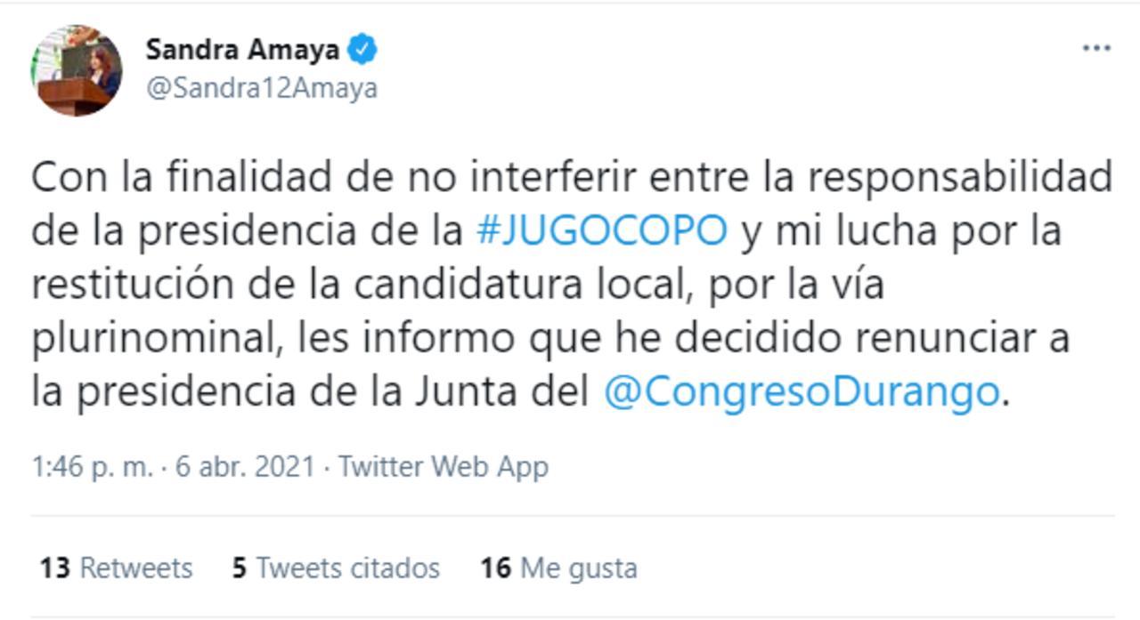 Se retira Sandra Amaya de la presidencia de la Junta de Coordinación Política del Congreso