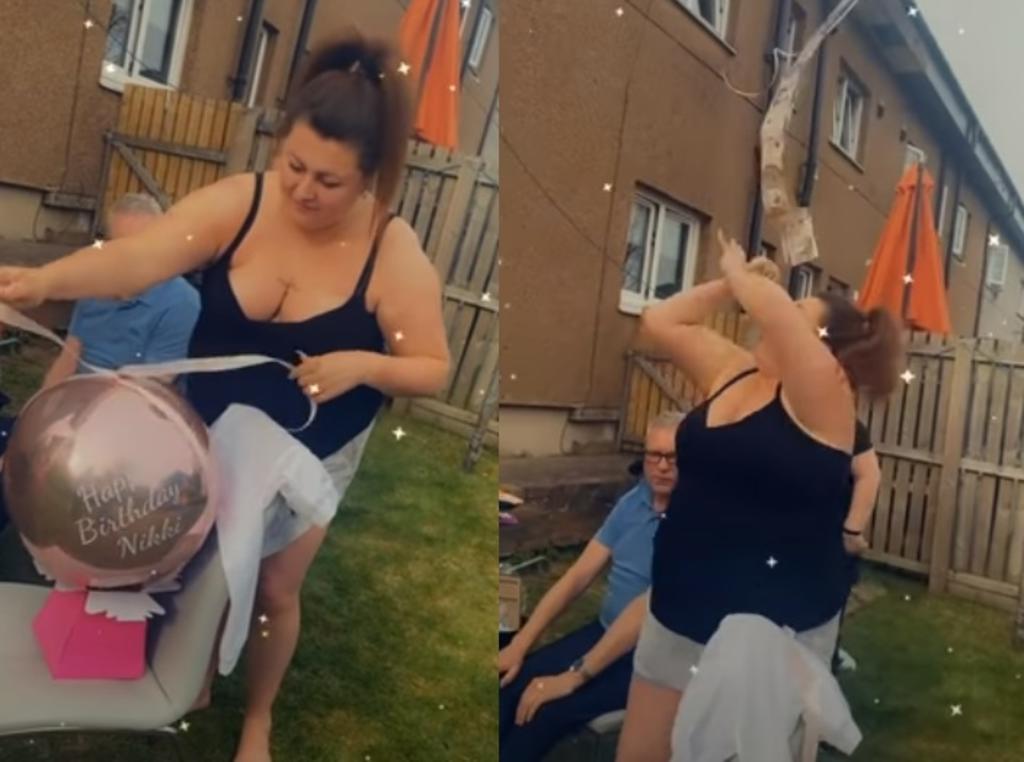 Mujer recibe como regalo billetes atados a un globo y el viento se los lleva
