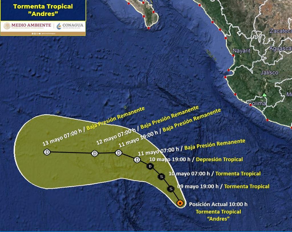 Se forma tormenta tropical 'Andrés' en costas de Michoacán