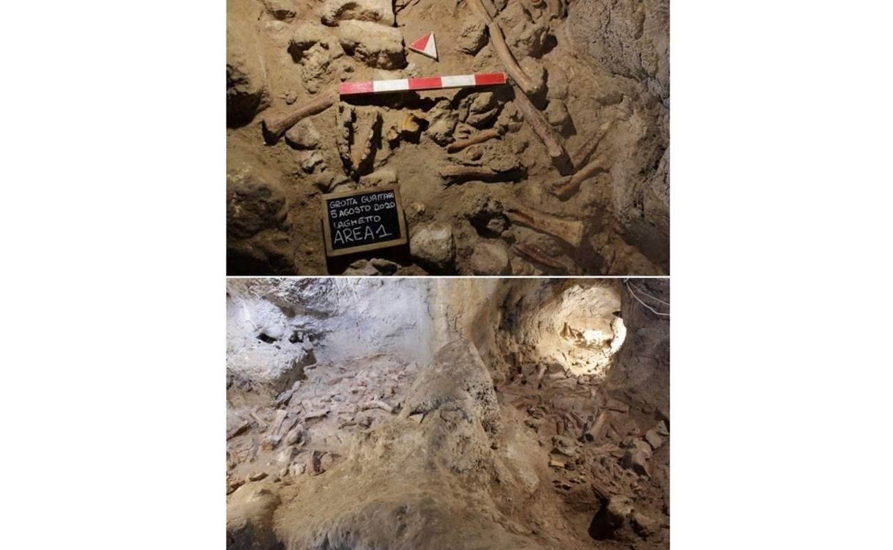 Hallan restos de homínidos y animales en cueva italiana