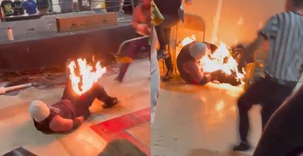 Luchador sufre quemaduras al intentar hacer truco con fuego en plena pelea