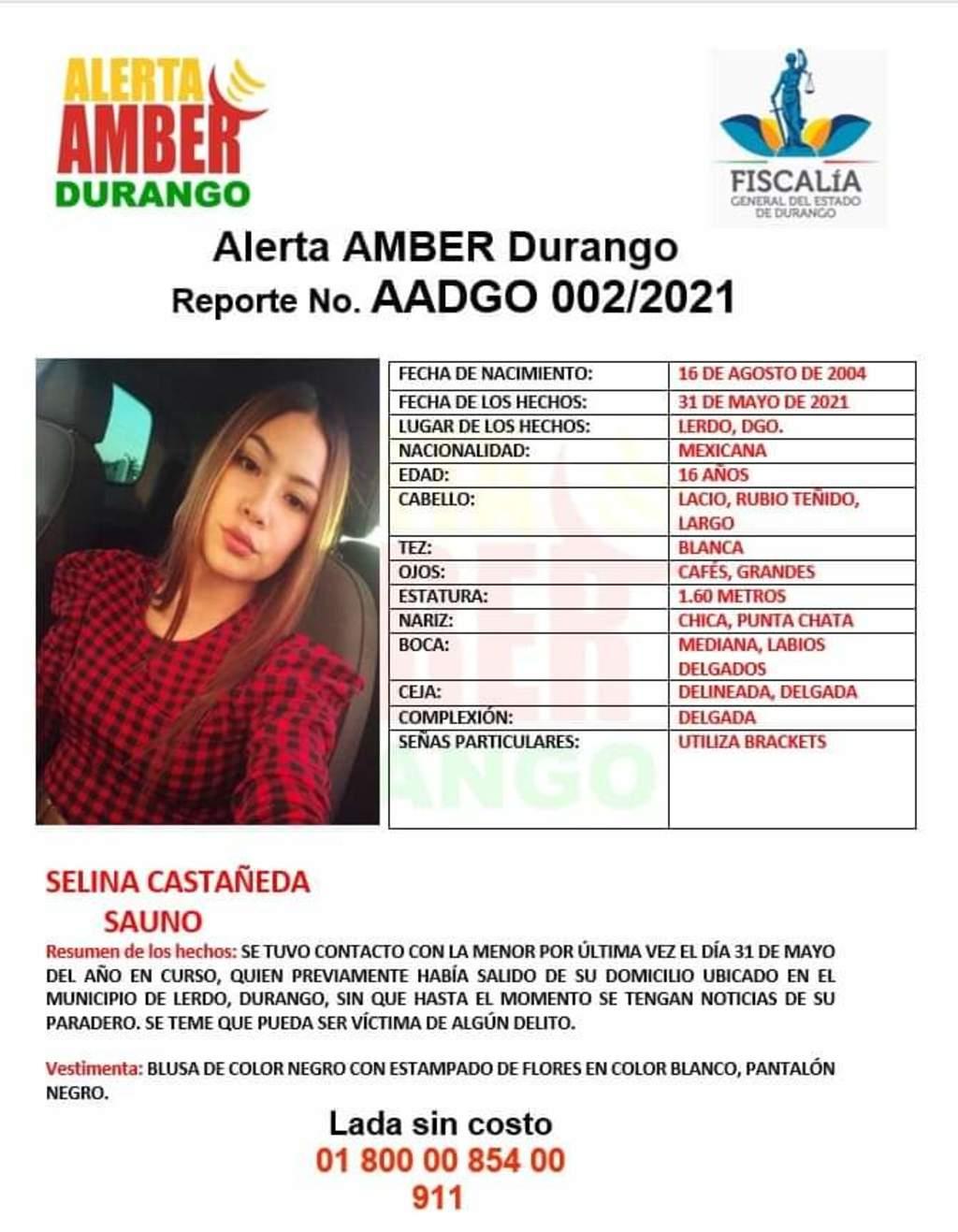 Solicitan ayuda para localizar a menor de edad desaparecida en Gómez Palacio