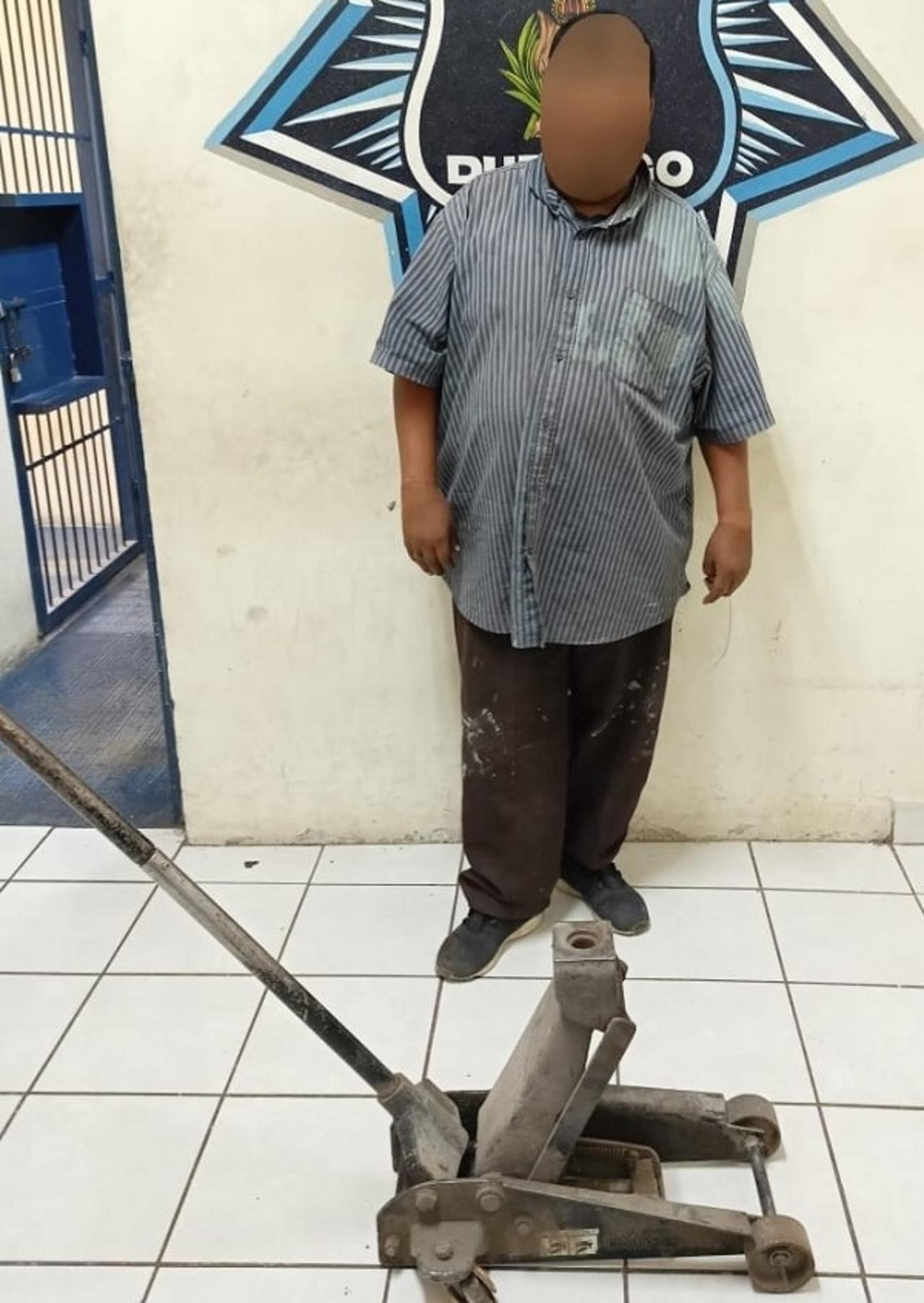 Detienen a presunto ladrón de taller mecánico