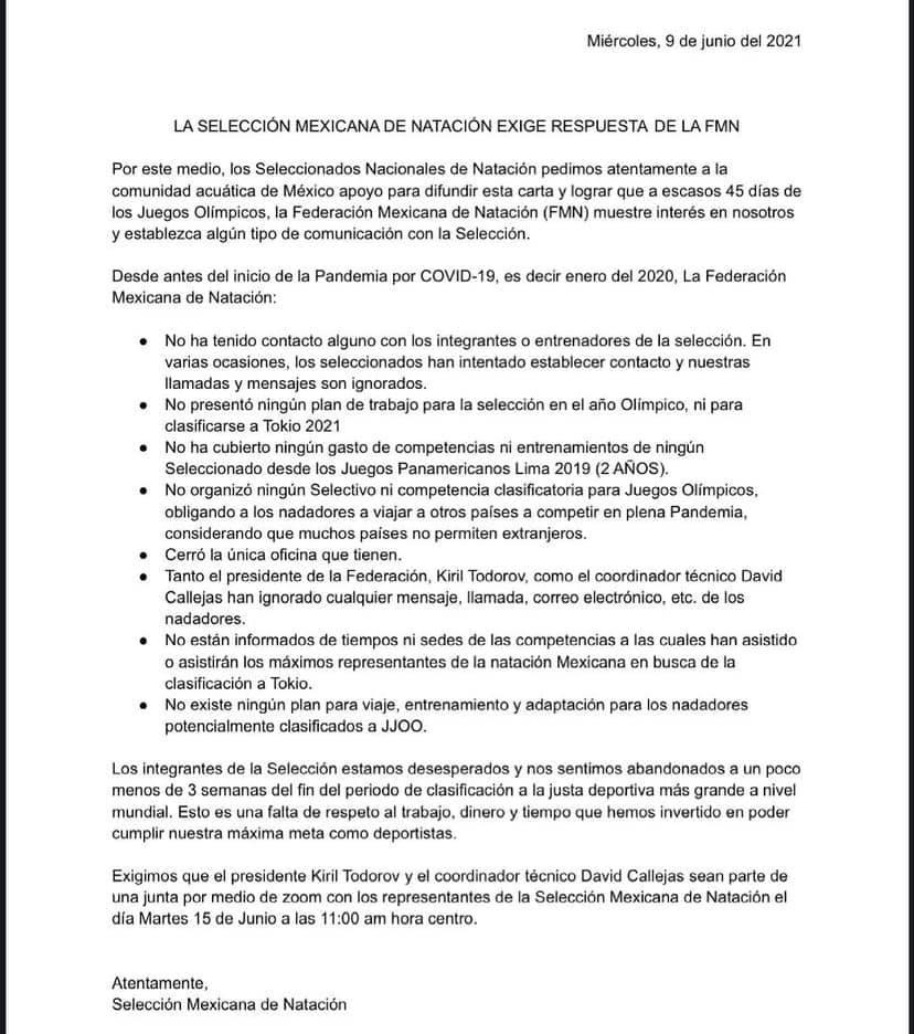 Selección Mexicana de Natación denuncia abandono Kiril Todorov