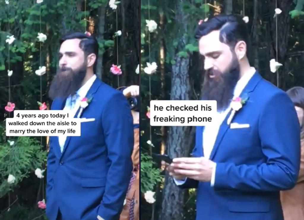 Novio es criticado por mirar su celular mientras su prometida camina hacia el altar