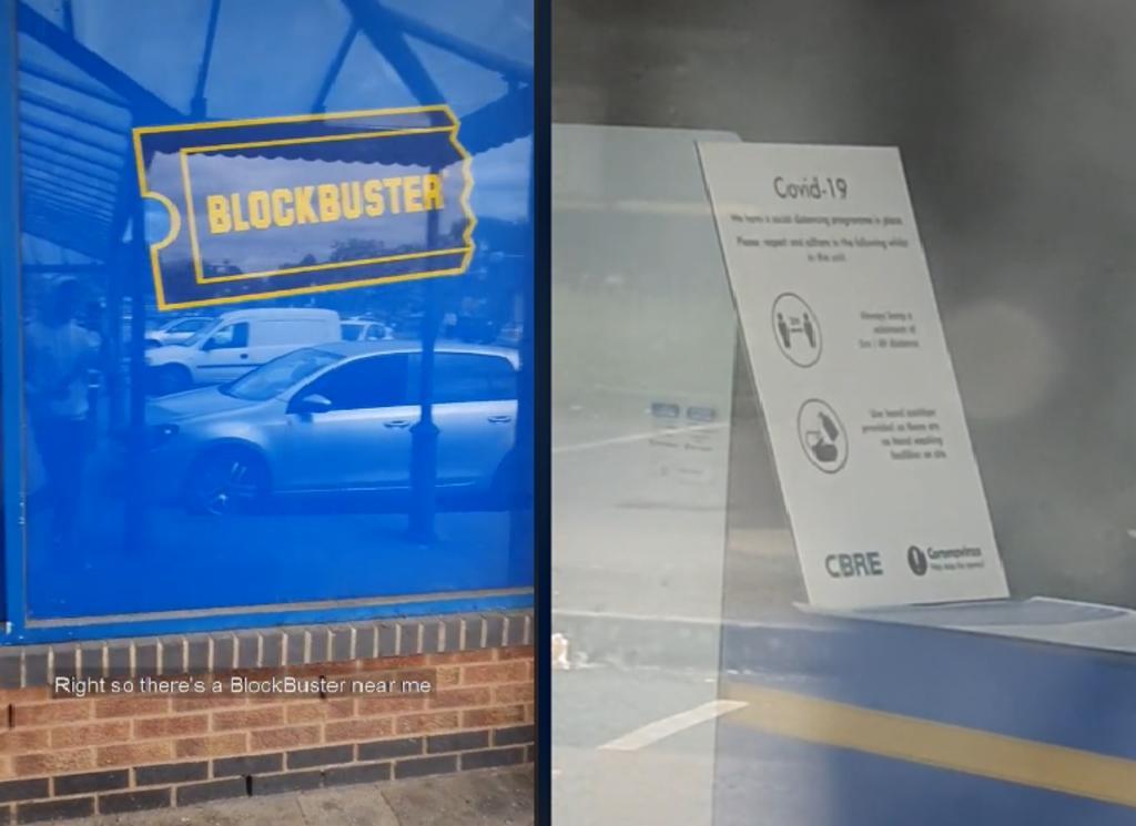 Encuentran letrero COVID en un Blockbuster abandonado y lo llaman un 'error en la Matrix'