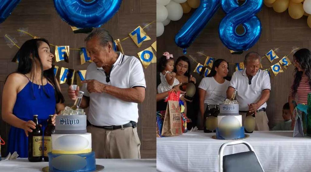 VIRAL: Abuelito recibe una 'caguama' por nieto para celebrar su cumpleaños