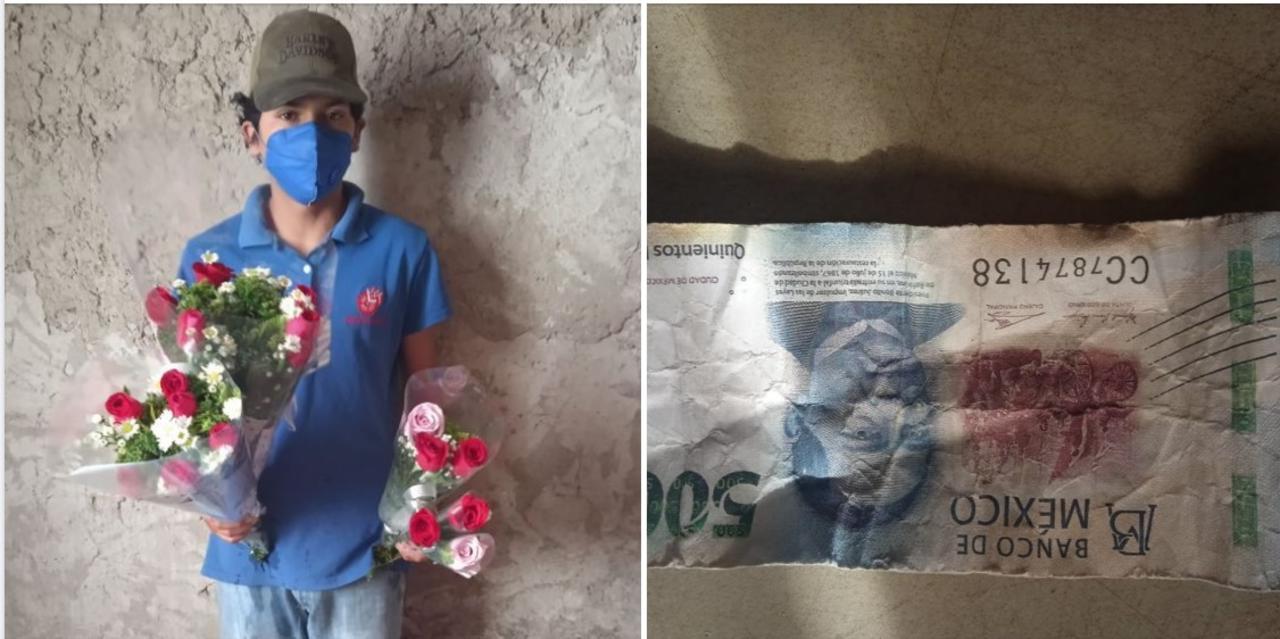 Compran flores a niño de Durango con billete de 500 falso