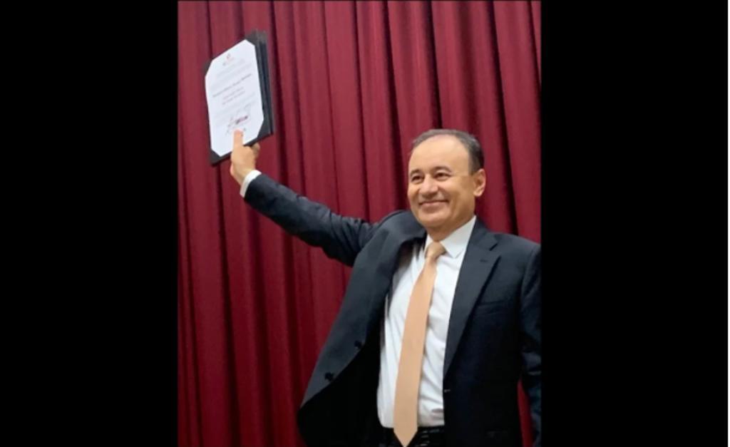 INE entrega constancia a Alfonso Durazo como gobernador electo de Sonora