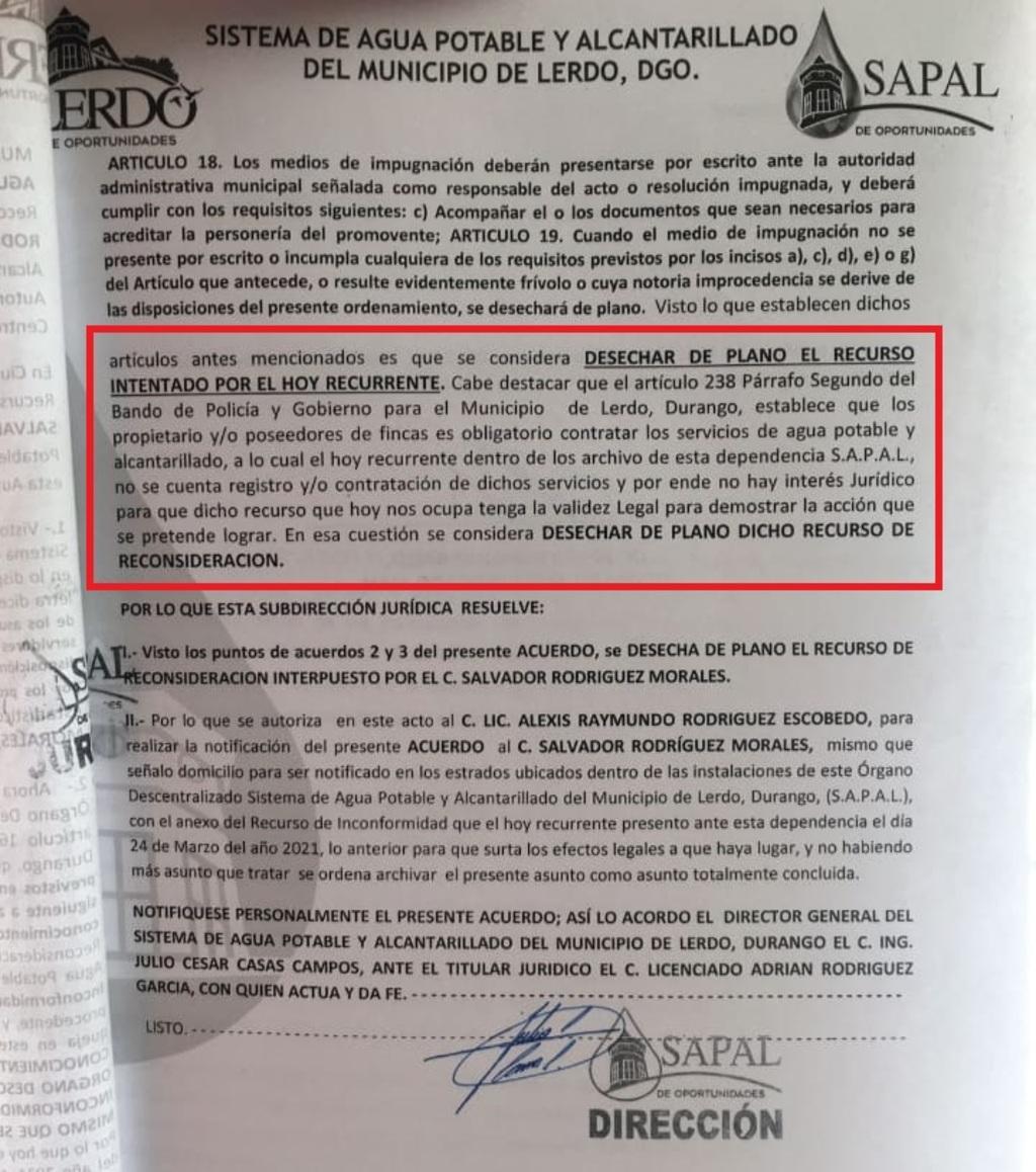 Suman prueba de tráfico de influencia contra funcionarios de Lerdo