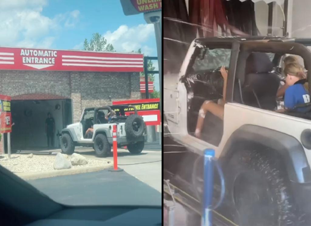 Jeep sin puertas ni ventanas entra a un lavado de autos