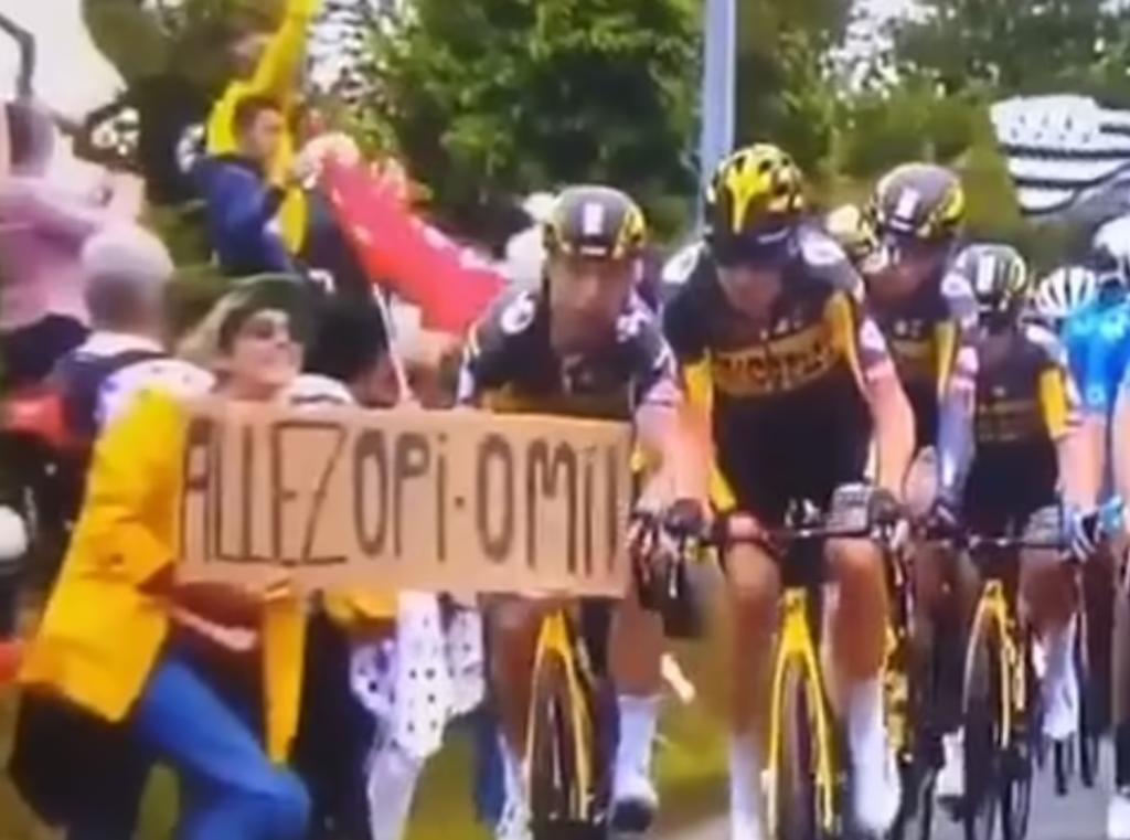 Aficionada provoca caída masiva de ciclistas en el Tour de Francia