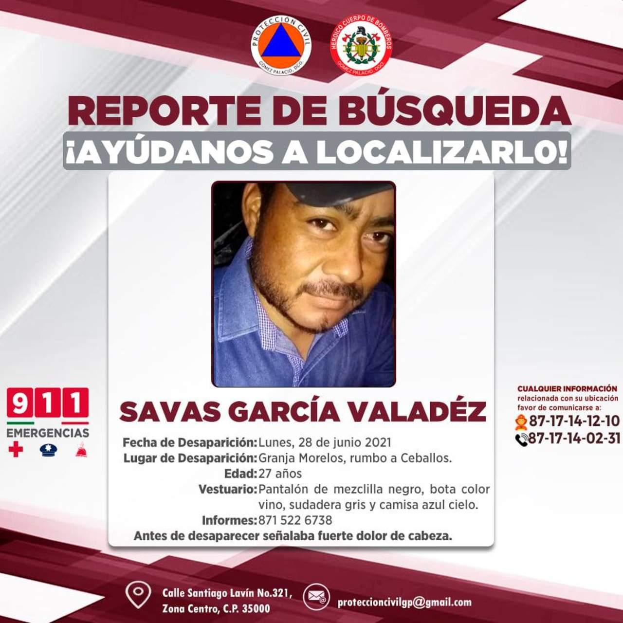 Solicitan ayuda para localizar a joven desaparecido en Durango