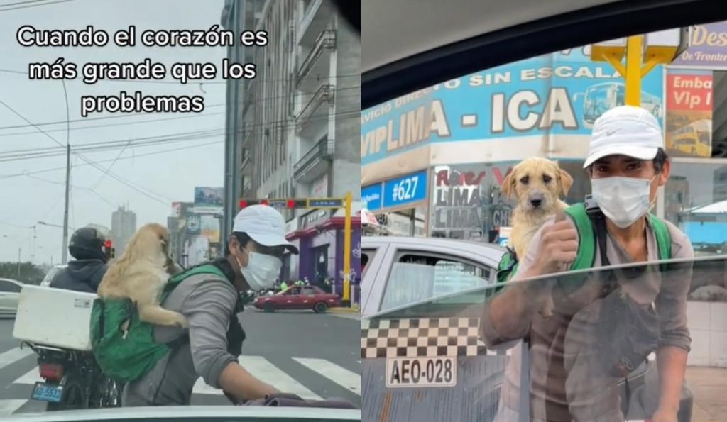 VIRAL: Limpiador de autos 'conmueve' al llevar a su perrito en su espalda