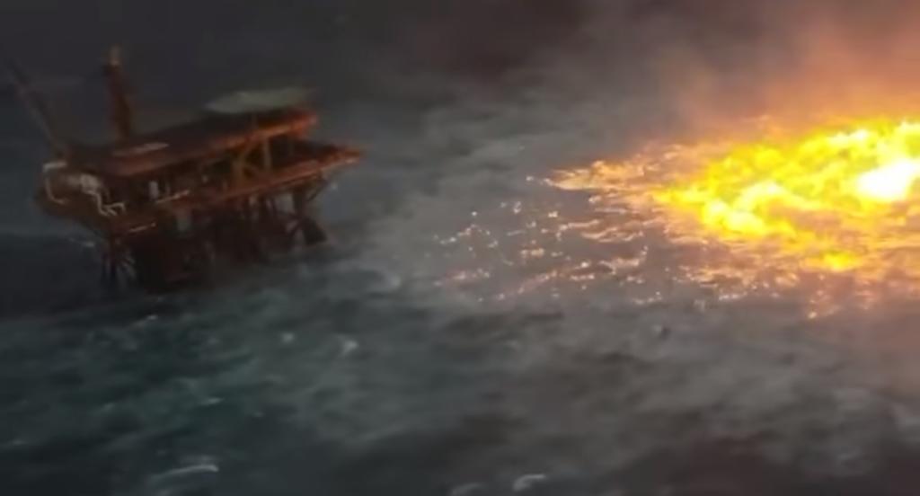 ¿Cuál es el origen del video del 'ojo de fuego' cerca de plataforma petrolera en Campeche?