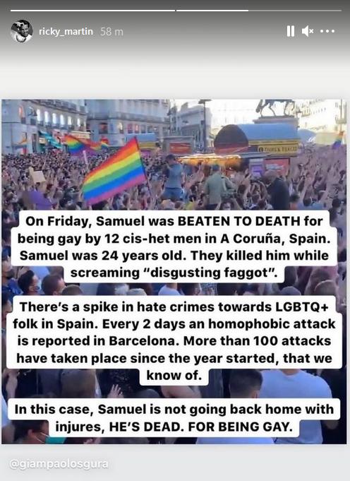 Ricky Martin condena la brutal paliza y asesinato del joven gay español Samuel Luiz