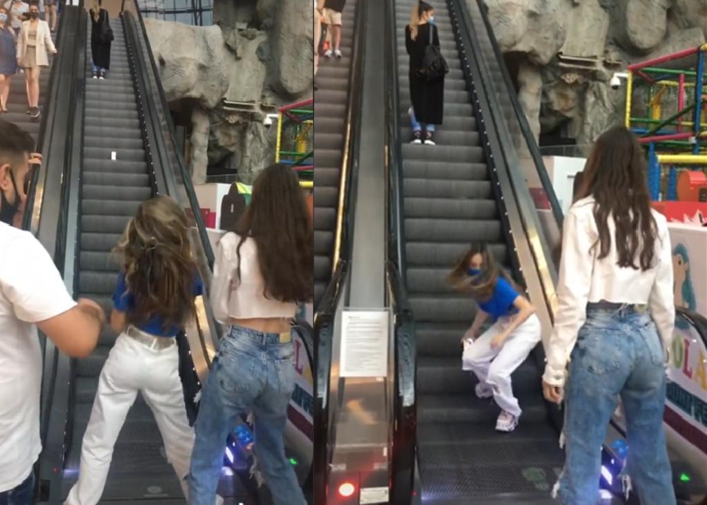 Influencer es criticada por bloquear las escaleras de un centro comercial con tal de grabar