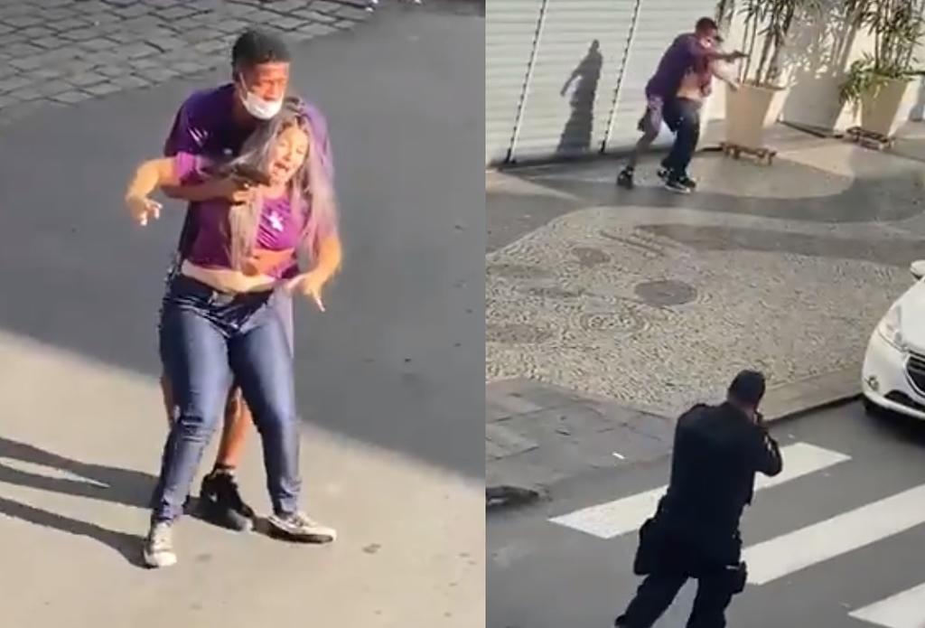 Ladrón es abatido por policías tras tomar como rehén a una mujer cuando intentaba escapar