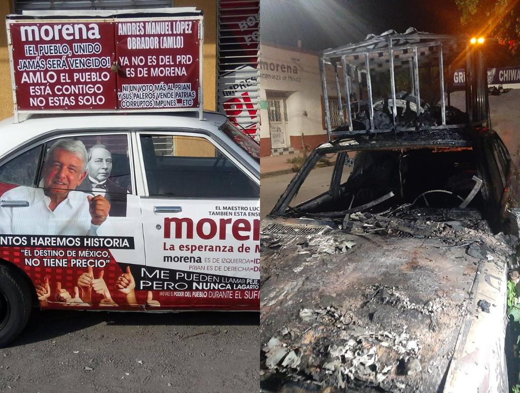 Datsun 'viral' tapizado de mensajes de AMLO es quemado en Lerdo