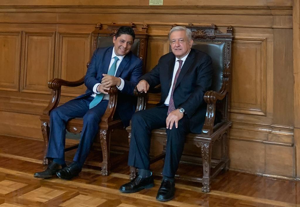 López Obrador recibe al gobernador electo de San Luis Potosí