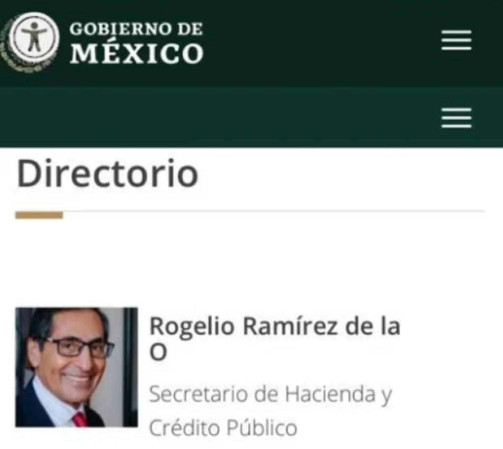 Hacienda actualiza su portal web; Rogelio Ramírez de la O ya aparece como titular