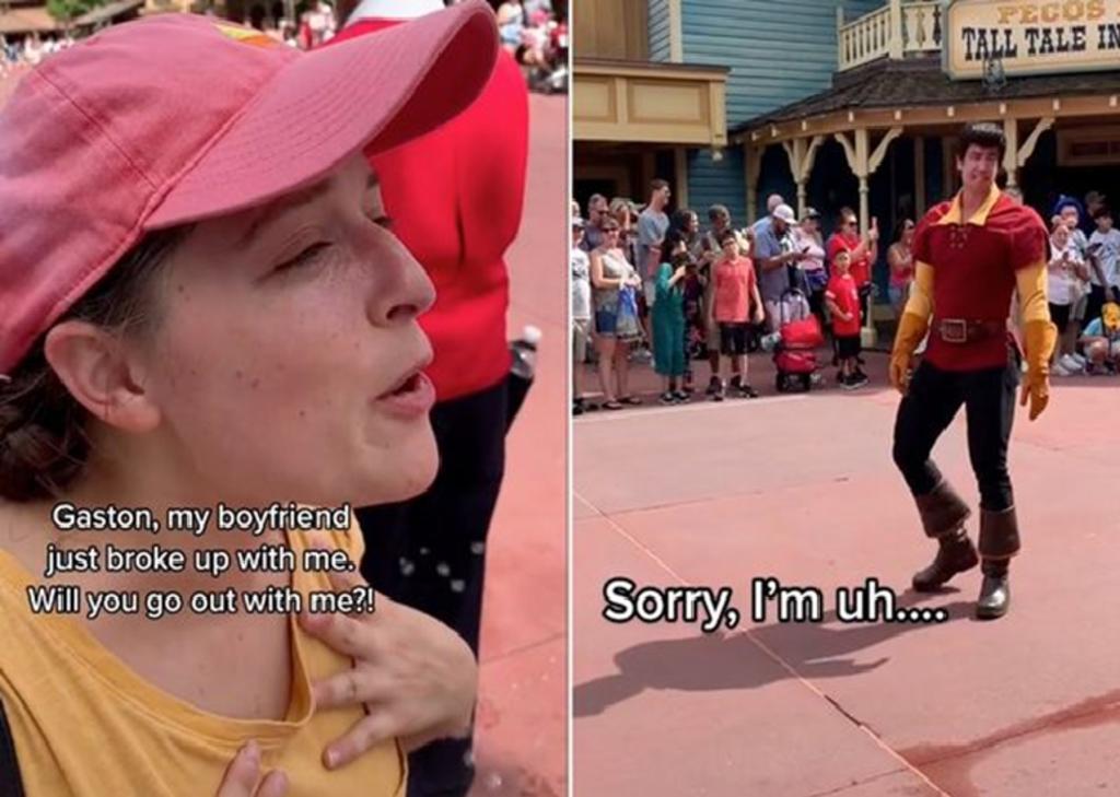 Mujer se le declara a 'Gastón' en Disney World y el personaje la rechaza