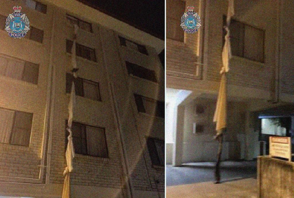 Hombre ata sábanas para escapar por la ventana de un hotel
