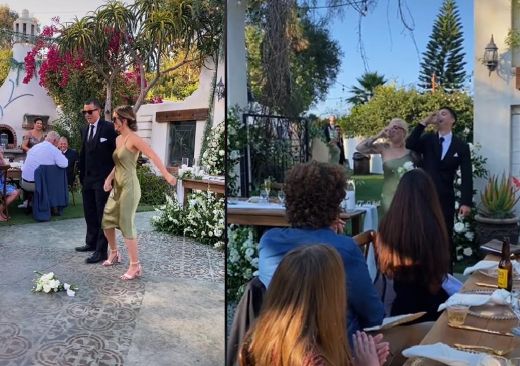Extravagante entrada de damas de novia a una boda genera controversia