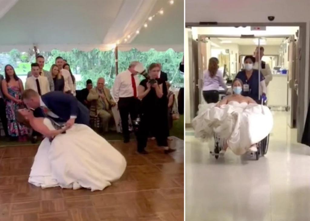 Novia se disloca la rodilla durante su primer baile de casada