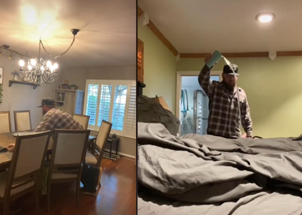 Padre se hace viral al destruir la 'primera casa' de su hijo