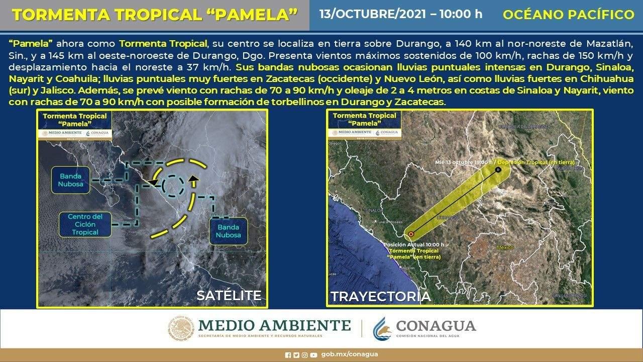'Pamela' se degrada a tormenta tropical