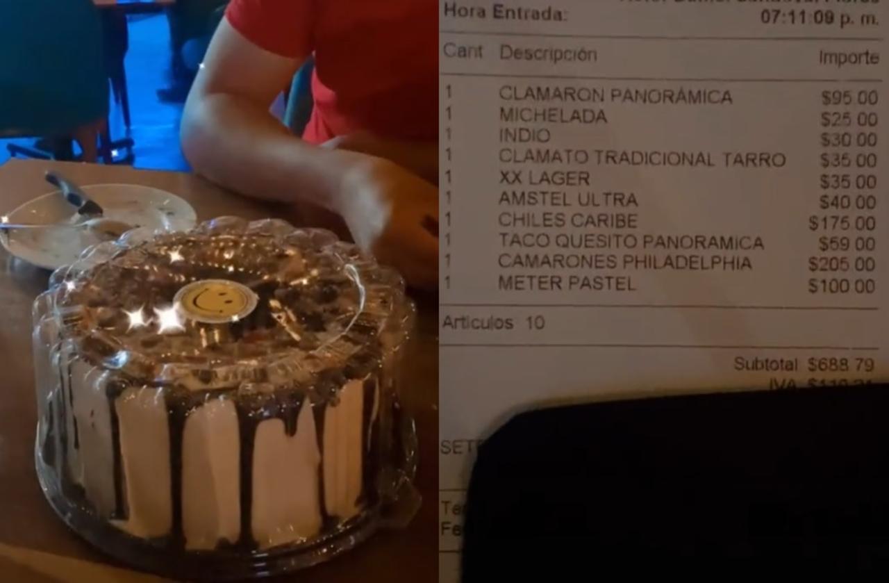 'A 100 la metida'; mesero cobra a clientes por guardarles un pastel en el refrigerador